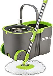Amazon Brand: Umi.Essentials Stainless Steel Self-Wringing Microfibre Spin Mop and Bucket Floor Cleaning System