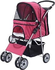 COSTWAY Hundewagen Hundebuggy Hunde Buggy Pet Stroller mit Becherhalter&Einkaufstasche 4 Räder Farbwahl