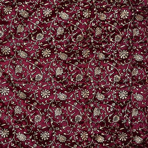 JaipurFabric Maroon Base Golden Floral Print Silk Double Quilt