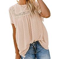 Jolicloth T-Shirts Femmes à Manches Courtes, Col Rond Dentelle Crochet Pompon Chemisier Fluide Chemises élégantes…
