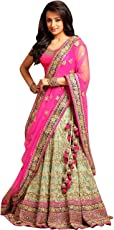 Drashti villa Women's Embroidered Semi Stitched lehenga choli With Blouse Piece (Free Size) (Pink)