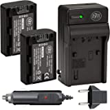 Big Mike's NP FH50 Batteries  Pack of 2  and Battery Charger for Sony CyberShot DSC HX100V DSCHX200V Digital Camera