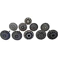 Lot de 10 boutons de porte en céramique style vintage shabby chic Noir et blanc