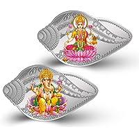 MMTC-PAMP 999.9 Purity Lakshmi Ganesh Shankh Shape 50 gm Silver Coin (2 coin set)