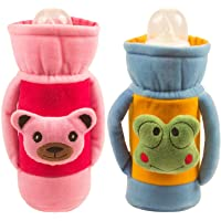 Ole Baby Cute Face Soft Attractive Plush Velvet Milk Feeding Bottle Cover with Handle Dimension 16x10x6.5 cm Pack of 2, Blue
