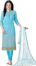 Kanchnar Women's Cotton Dress Material (443D1357_Blue)