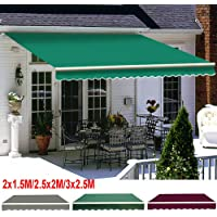 iropro DIY Patio Retractable Manual Awning, Gazebo Outdoor Canopy, Garden Sun Shade Shelter with Fittings and Crank Handle (2.5x2M, Green)