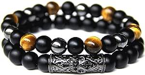 LAMAZEN Double Bracelet pour Hommes ou Femmes en Pierres Naturelles Œil de tigre, Onyx et Hématite, Bijou de Perles de 8mm, Longueur 17 à 23cm