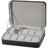 House of Quirk Grids PU Leather Travel Watch Storage Case Zipper Wristwatch Box Organizer