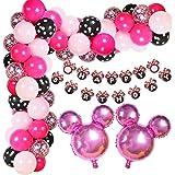 Globos Rosa Minnie, Decoraciones de Cumpleaños de Minnie Mouse, Decoraciones de Fiesta de Cumpleaños de Niña, Globos Negros R