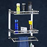 Plantex Deluxe High Grade Stainless Steel Multipurpose 3-Tier Bathroom Shelf with Towel Holder/Towel Hooks/Bathroom…