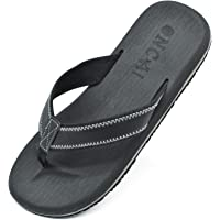 ONCAI Mens Flip Flops Leather Thongs Comfy Beach Sandals Anti-Slip Pool Shoes