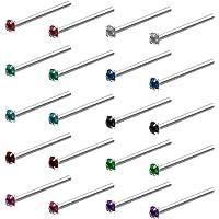 Kurtzy Piercing Naso Acciaio Chirurgico (20pz) - Set Piercing Naso Brillantino da 1,8mm - Orecchini Acciaio Chirurgico…