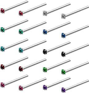 Kurtzy Piercing Naso Acciaio Chirurgico (20pz) - Set Piercing Naso Brillantino da 1,8mm - Orecchini Acciaio Chirurgico Unisex Colori Assortiti - Piercing Trago Brillantino per Narice, Orecchio, Labbro