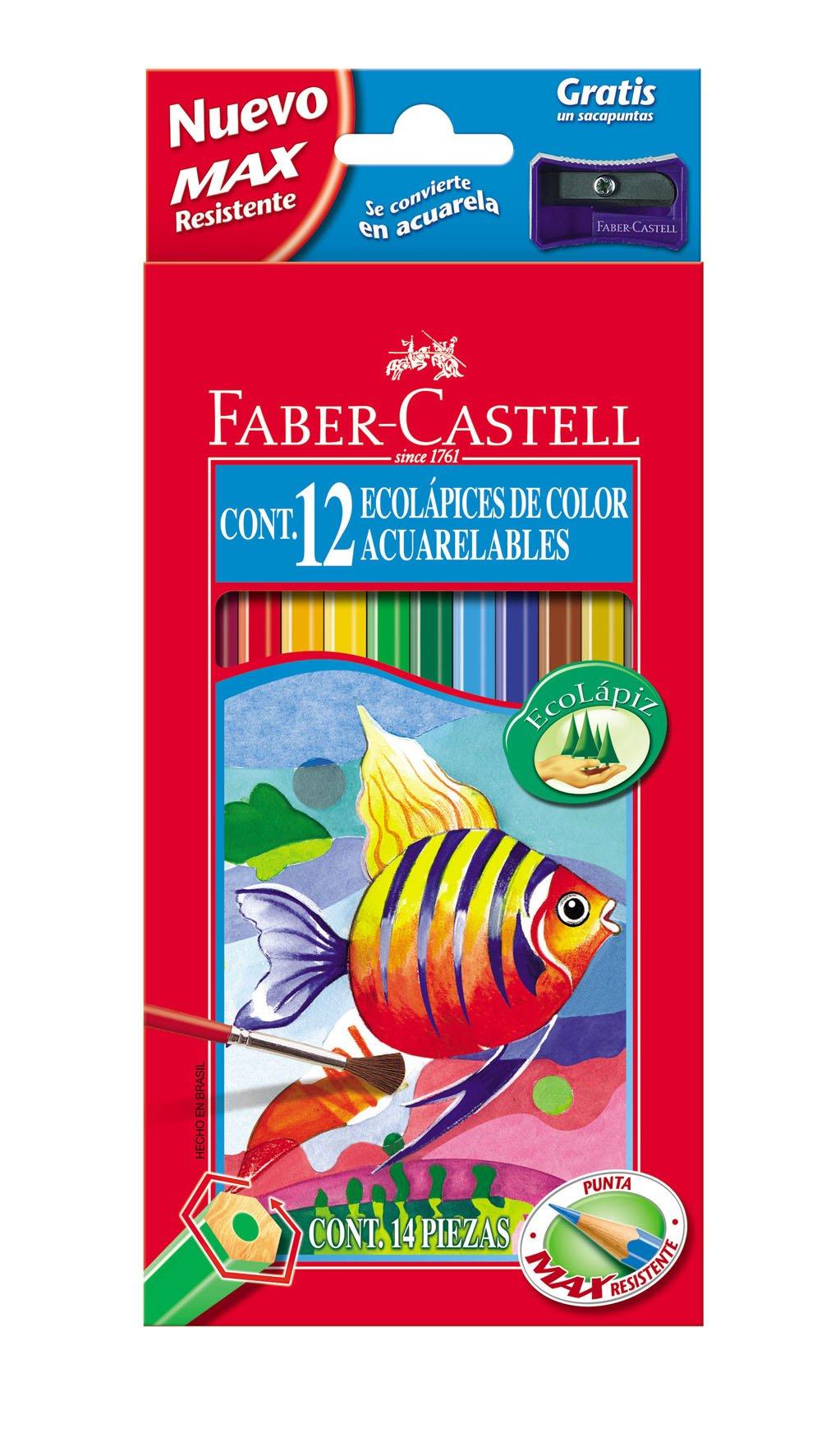 Faber-Castell 120212 – Estuche de 12 ecolápices de color acuarelable, 1 pincel y afilalápices de regalo