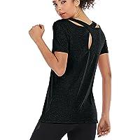 Lixada Women Short Sleeve Yoga Shirt Quick Dry Running Workout T-Shirt Sports Shirt Yoga Top Activewear
