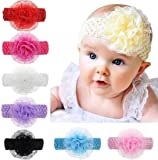 FAMEZA Magical World Trading Company Crochet Cutwork Flower Headband for Baby Girls (Multicolor,Pack of 6)
