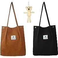 Cord Tasche Groß, umhängetasche Damen 2 Stück, kann als Tote Bag stofftasche Strandtasche Shopper Damen Henkeltasche für…