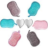 6 Eponges Lavables Réutilisables Microfibre Vaisselle Grattante Ecologique Tampons Antibactérienne Non Odor Brosse pour…