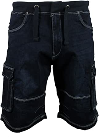 "Kam Mens Big Plus Size Elasticated Waist Denim 3/4 Shorts Bottoms Size 42-60"" Waist"