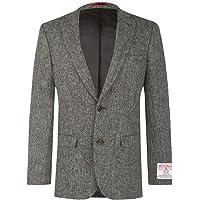 Dobell Scottish Harris Tweed Mens Grey Suit Jacket Regular Fit 100% Wool