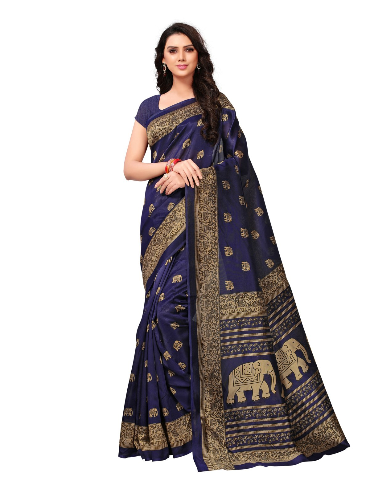 Kanchnar Women's Navy Blue Poly Silk Printed Saree (735S41)