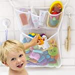 Bath Toy Organizer With 2M Strong Sticky Hooks,Quick Dry Mold Resistant Mesh Net,Bathroom Storage,Bathtub Baby Toy Bag...
