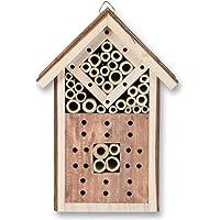 Insektenhaus aus Holz, zum Hängen, 16,5 x 9 x 23,5 cm, Insektenhotel Garten Frühling Nistkasten Bruthilfe Bienen Insekten Käfer