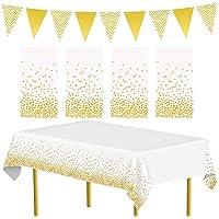 APERIL Lot de 4 nappes de fête en Or et 1 Drapeau Triangulaire Fournitures de fête Nappe à Pois dorés Couvre-Tables…