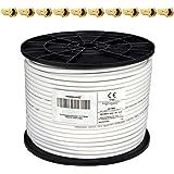 PremiumX - 100m cable coaxial SAT cable de antena cable coaxial 130dB, 4 veces blindado para sistemas DVB-S / S2 DVB-C y DVB-