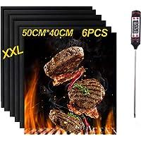 Nifogo Tapis de Cuisson Set de 6 Tapis de Barbecue Feuilles de Cuisson 100% Anti-adhérent Réutilisable pour Les Barbecue…