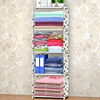 Oumffy 4 Layer Fancy and Portable Foldable Collapsible Closet/Cabinet Collapsible Wardrobe for Clothes (Animal-White…