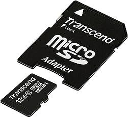 Transcend TS32GUSDHC10E Scheda di Memoria MicroSDHC da 32 GB con Adattatore, Classe 10