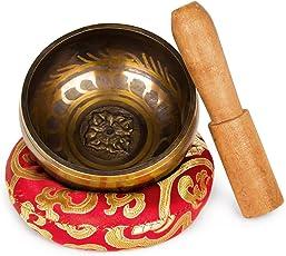 EFANTUR Campana Tibetana Buddista con Cuscino Himalayano, Fatto a Mano in Nepal, Singing Bowl Tibetan per Meditazione e Rilassamento