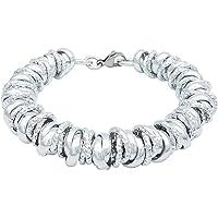 ParticolarModa Bracciale con nodini intrecciati lucido diamantato per donna in alluminio e acciaio dorato argentato 12…