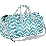 MOSISO Sporttasche Reisetasche mit Schuhfach Chevron Sports Duffel für Männer / Frauen Tanz Reise Weekender, Heiß Blau