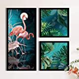 Painting Mantra Flamingo Floral Theme in Green Background Framed Printed Set of 3 Wall Art Print, Painting(1 Unit 22 X 47 cm,