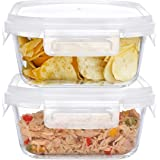 SIMPARTE Borosilicate with Air Vent Lid Square Glass Food Container (Set of 2, 320ml) (320ML-Lock Lid-jar-set 2)