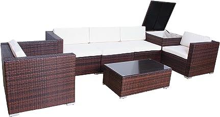 Svita Del Sol POLY RATTAN Lounge Gartenset Sofa Garnitur Polyrattan Gartenmöbel Kissenbox