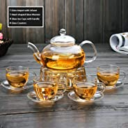 Clear Glass Teapot Tea Set with Infuser 4 glass Tea Cups and Saucers 1 Heart Shape Crystal Glass Warmer Base,Glass Tea Maker