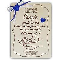 Crociedelizie, Idea regalo madrina padrino ricordo ringraziamento battesimo targa personalizzata personalizzabile con…