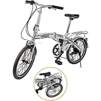 """Ridgeyard - Bicicleta de 20"""" y 6 velocidades color plata plegable regulable City Bike escuela"""