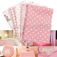 Veena 500X500Mm 5Pcs Cotton Cloth Fabric DIY Sewing Quilt Pillowcase Dresses Tablecloth Pink