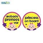 Baby Jem Araba Cam Yazısı Arabada Prenses Var