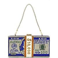 EMFGJ Bling Strass Geld Clutch Geldbörse Glänzende Umhängetasche Abend Umhängetasche Glitzer Funkelnde Dollar Handtasche…