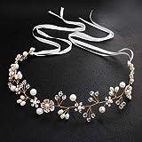 HJYHYN Braut Stirnband Haarschmuck Hochzeit Braut Stirnband Braut Kopfschmuck Vintage Perle Haarkranz mit Blatt Gold