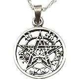 Sicuore Collar Colgante Tetragramaton - Plata de Ley 925 Incluye Cadena de 45cm de Plata y Estuche para Regalo
