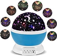 Lampada Proiettore Stelle FKANT Luce Notturna Bambin con 4 Colori Lampadine LED, USB Cavo, 3 Pulsanti Possono Offrire 34 Combinazioni Diverse, Ruotabile Proiettore Luci perfetto per Regali di Natale