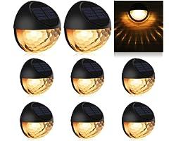 Solar Fence Lights, KMASHI Solar Garden Lights, Solar Outdoor Lights for Garden, Fence, Patio Use,Warm White (8Pack)