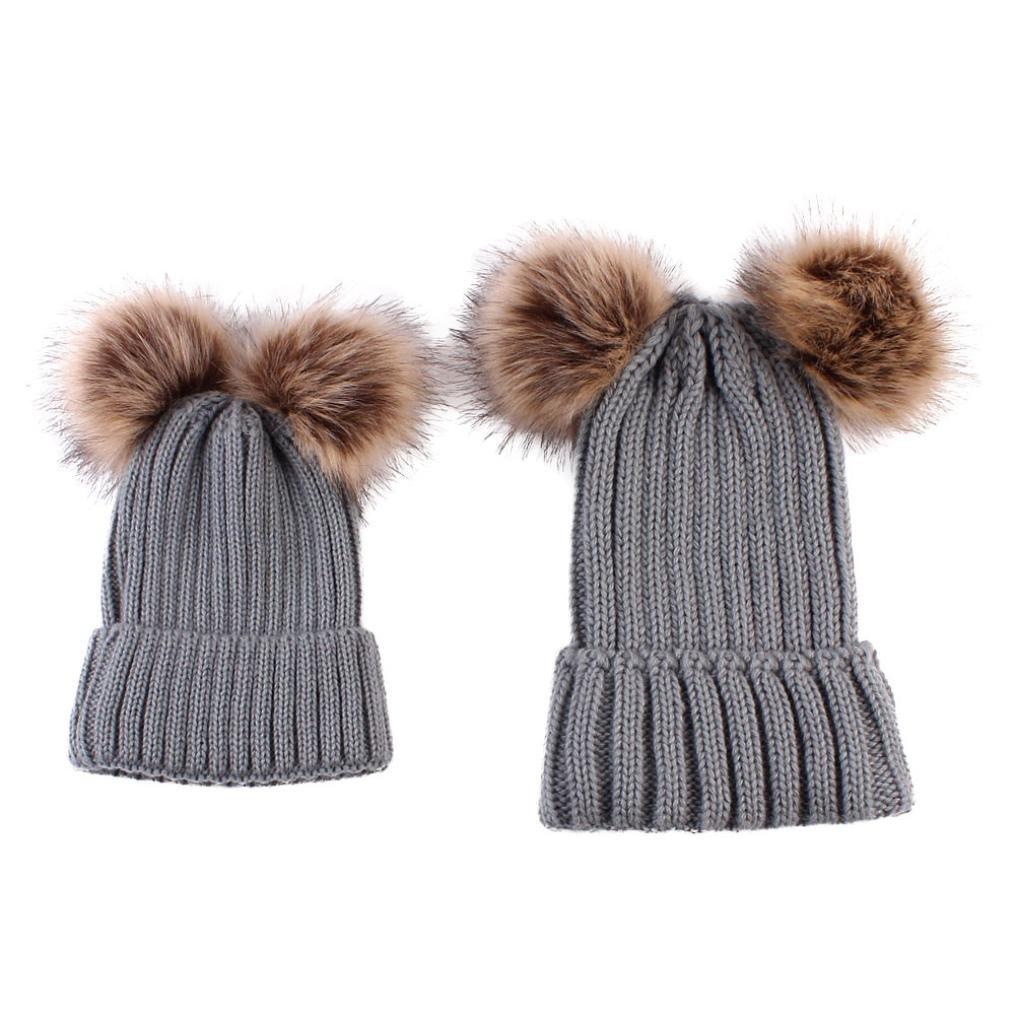 Bonnet Bebe, Tpulling 2pcs maman bébé tricot POM Bobble Hat chapeau hiver  chaud bonnet (Black)  Amazon.fr  Vêtements et accessoires 3f58ecd43d5